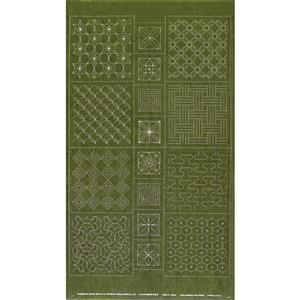 Sashiko Tsumugi Preprinted Traditional Four Seasons Summer Dark Green Fabric Panel 108x61cm