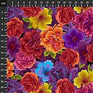 Noble Menagerie Assorted Flowers in Burnt Red Fabric 0.5m
