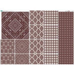 Burgundy Square Porcelain Tiles Fabric Panel 140x114cm
