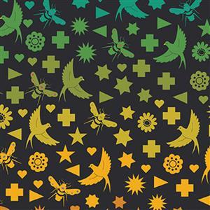 Alison Glass Art Theory Birds and Bees on Black Fabric 0.5m