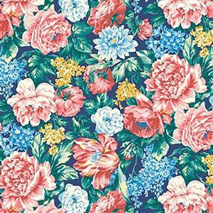Liberty Emporium Collection Merchant Bright's Wild Bloom Teal Fabric 0.5m