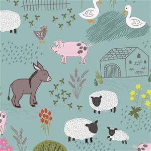 Lewis & Irene Piggy Tales Farmyard Scenes On Aqua Fabric 0.5m