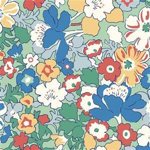 Liberty Carnaby Collection Westbourne Posy Green and Blue Fabric 0.5m