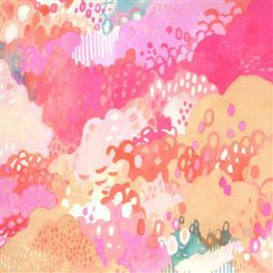 Moda Fanciful Forest  in Pink Bush Fabric 0.5m