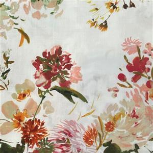 Wildflower Coral Wildflower on White Fabric 0.5m