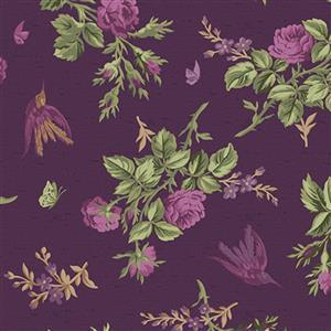 Riley Blake Anne of Green Gables Eggplant Floral Fabric 0.5m