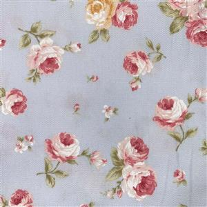Floral Story Tossed Roses On Sky Fabric 0.5m - Sewing Street exclusive