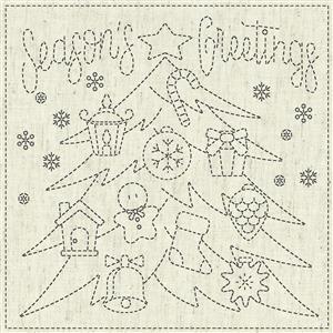 Sashiko Season's Greetings Fabric Panel 30 cm x 30 cm (12