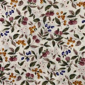 Country Floral Purple Berries on Cream Fabric 0.5m Exclusive