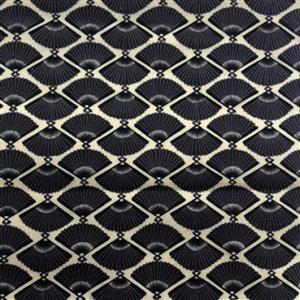 Japanese Fans Black Fabric 0.5m