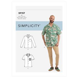 Simplicity Men's Open Pointed Collar Shirt Sewing Pattern