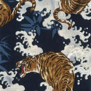 Tsume Tigers On Navy Fabric 0.5m