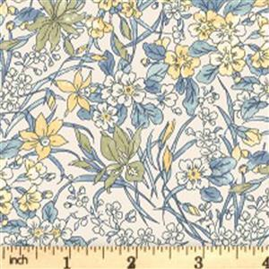 Liberty English Garden Collection Blue & Yellow Ricardo Fabric 0.5m