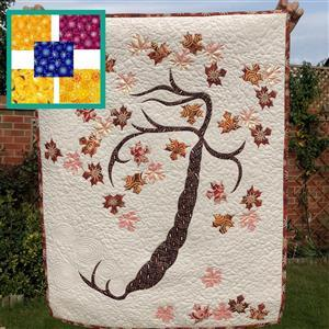 Delphine Brooks' Flowers In The Wind Autumn Tree of Life Kit: Instructions, FQ (5pcs) & Fabric (2m)