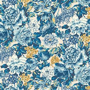 Liberty Emporium Collection Discovery Wild Bloom Turquoise Fabric 0.5m