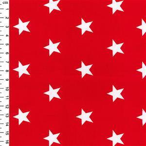 Rose & Hubble Cotton Poplin Red Stars Fabric 0.5m