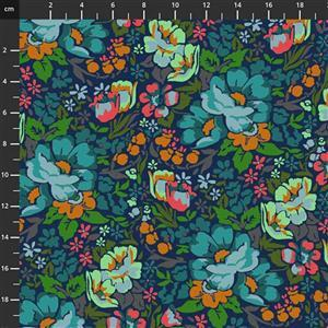 Anna Maria Horner Love Always Multi Teal Flower Fabric 0.5m