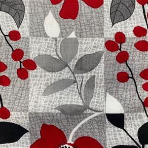Red Alert in Square Flower Garden Fabric 0.5m