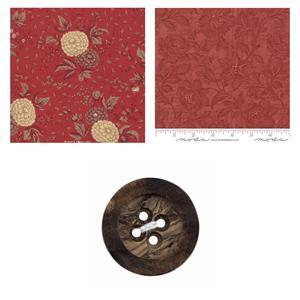 Moda Red Pumpkin Pillow Bundle: Fabric (1m) & Button