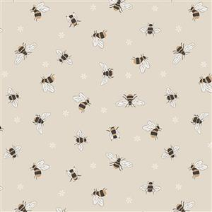 Lewis & Irene Queen Bee Cream Fabric 0.5m