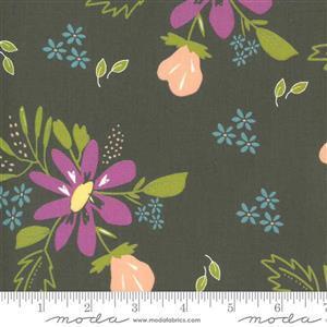 Moda Balboa by Sherri & Chelsi Coral Purple Flowers on Charcoal Fabric 0.5m