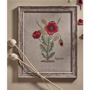 Poppy And Wheat On Linen