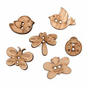 Wooden Buttons Butterflies Pack Of 6