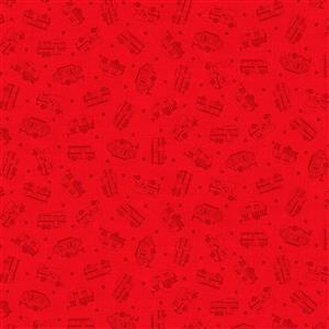 Roamin Holiday in Red Silouhette Fabric 0.5m