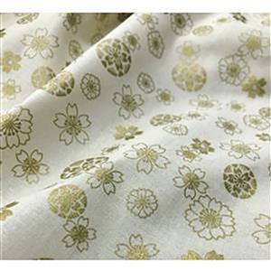 Anan Gold Floral on Cream Fabric Metallic 0.5m