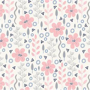 Riley Blake Meadow Lane in Pink Doodle Floral Fabric 0.5m