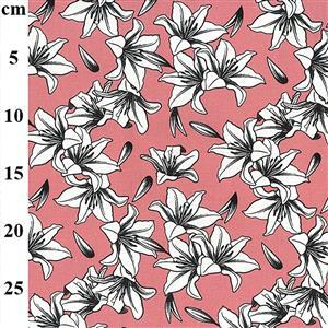 Pink Lilly Cotton Canvas Fabric 0.5m
