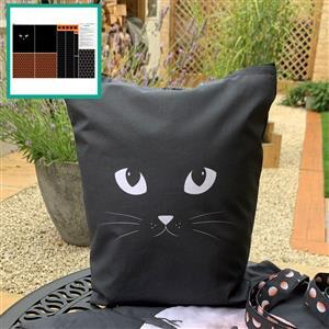 Tangerine Black Cat Tote Bag With Instructions Fabric Panel (140 x 97cm)