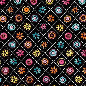 Happy Days in Crisscross Floral Black Fabric 0.5m