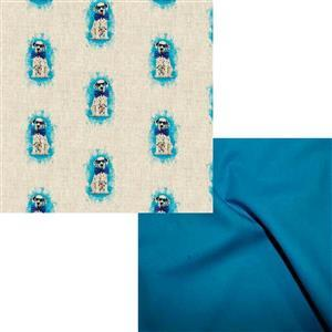 Dalmatian All-Over Linen Look Fabric & Sapphire Bundle (1m). Save £2