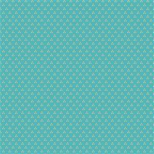 Poppie Cotton Chick-A-Doodle-Doo Chicken Spots on Teal Fabric 0.5m UK exclusive