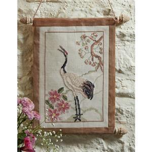 Cross Stitch Guild Oriental Stork on Linen Kit