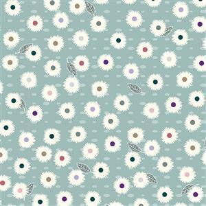 Flower and Dot on Blue Fabric 0.5m