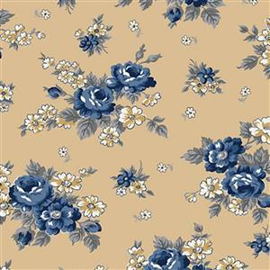Riley Blake Delightful Roses Gold Fabric 0.5m