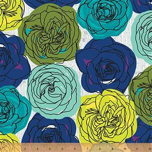 Norma Rose Rose Garden on Teal Fabric 0.5m