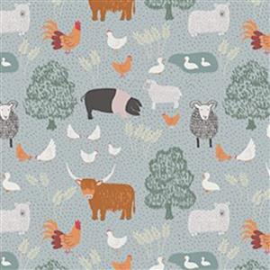 Lewis & Irene Country Life Reloved Blue Tossed Farm Animals Fabric 0.5m