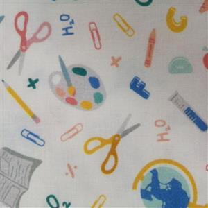 School Days Back to School White Fabric 0.5m