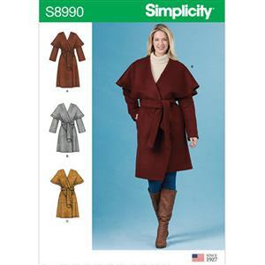 Simplicity Misses' Wrap Coat: Size 6-14