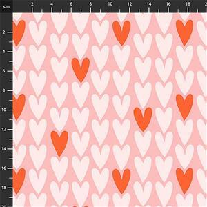Squeeze Hearts on Pink Fabric 0.5m