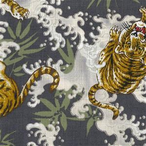 Tsume Tigers On Grey Fabric 0.5m