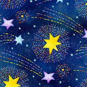Stay Wild Moon Child in Shooting Stars on Midnight Blue Fabric 0.5m