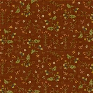 Anni Down On the 12th Acorns Brown Fabric 0.5m