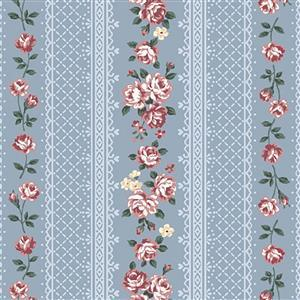 Band of Emily Roses on Blue Fabric 0.5m