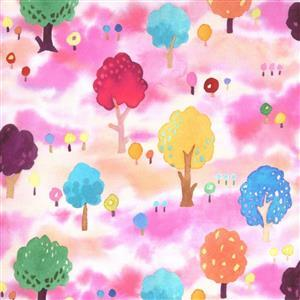 Moda Fanciful Forest  in Pink Field Fabric 0.5m