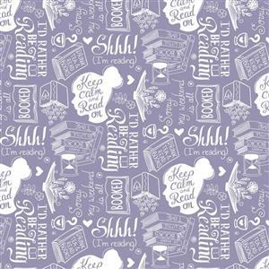 Literary Collection Rather Be Reading on Light Purple Fabric 0.5m