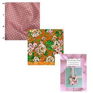 Posy Bright Helen Newton's Messenger Tote Bag Kit, Instructions, Fabric (1.5m)